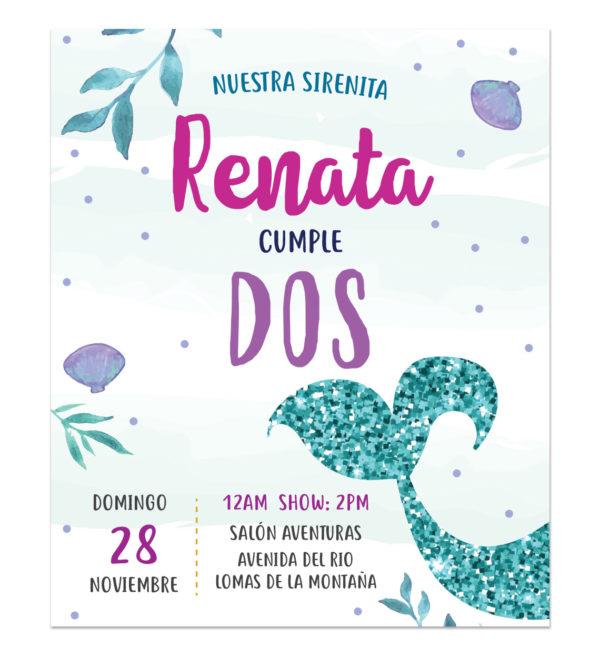 Invitación Cumpleaños Sirena Sparkle