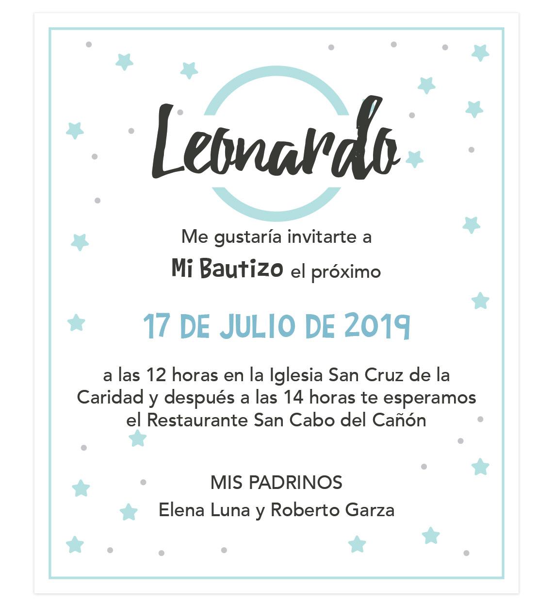 Invitación Bautizo Blue Stars