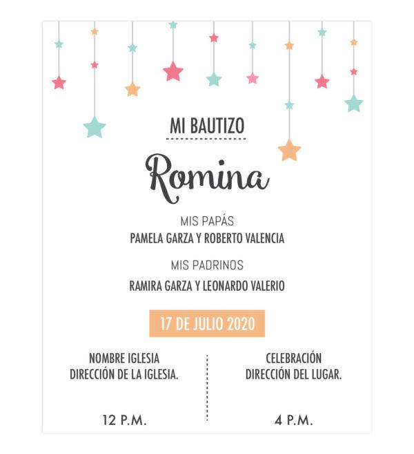 Invitación Bautizo Estrellas
