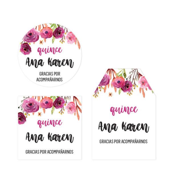 Tarjeta de Agradecimiento Quince Flores