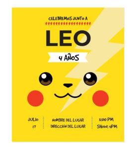 Invitación Cumpleaños Pikachu Rayo