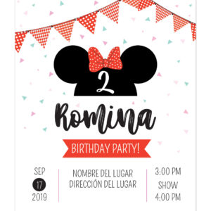 Invitación Cumpleaños Minnie Bow