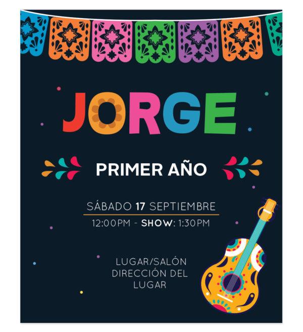 Invitación Cumpleaños Coco Guitarra