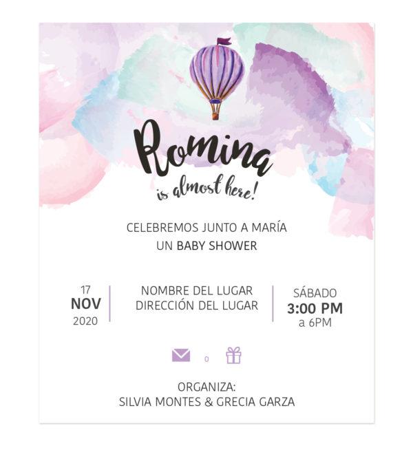 Invitación Baby Shower Globo