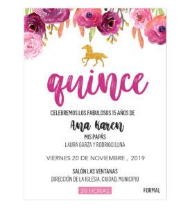 Invitación XV Años Flores Caballo