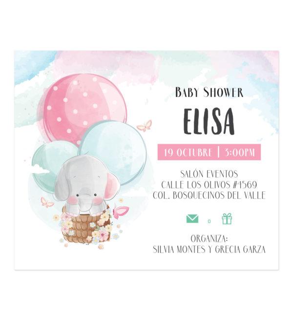 Invitación Baby Shower Elefante Globo Aerostatico