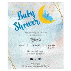 Invitación Baby Shower Conejo Luna