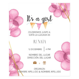 Invitación Baby Shower Globos Rosas