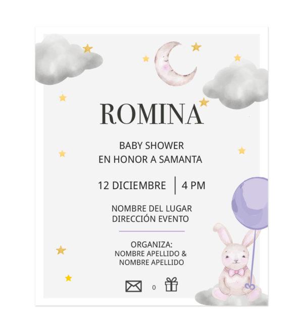 Invitación Baby Shower Conejito Volando