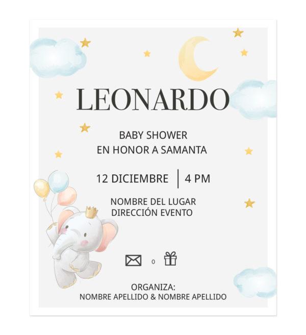 Invitación Baby Shower Elefante Globos Volando