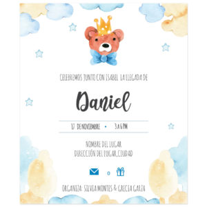 Invitación Baby Shower Rey Oso