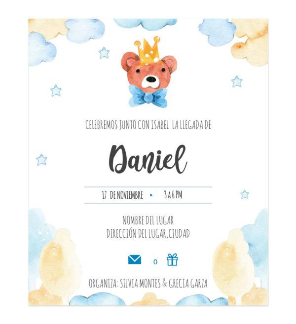 Invitación Baby Shower Rey Oso