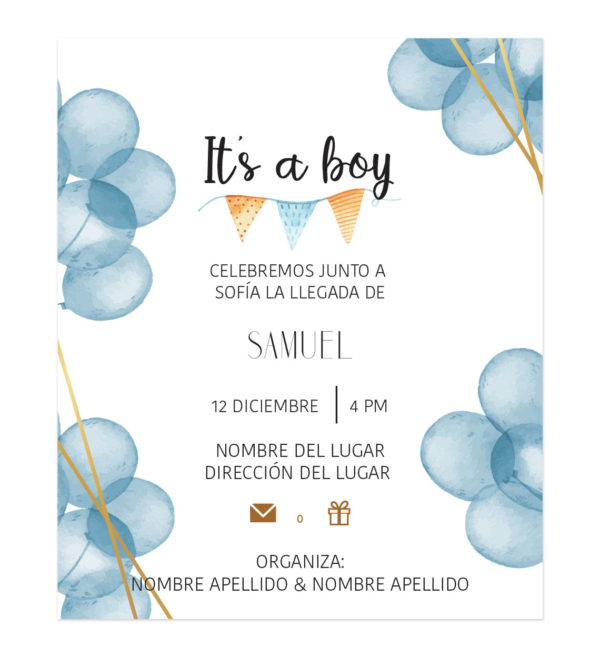 Invitación Baby Shower Globos Azules