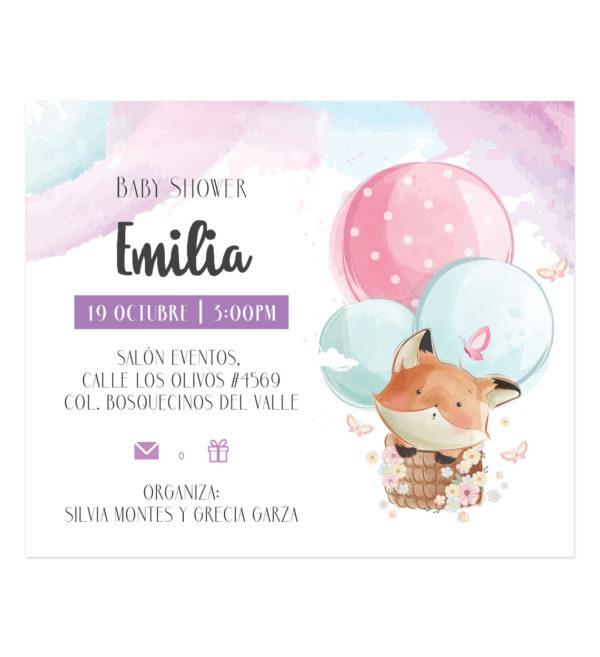 Invitación Baby Shower Zorrito Aerostático