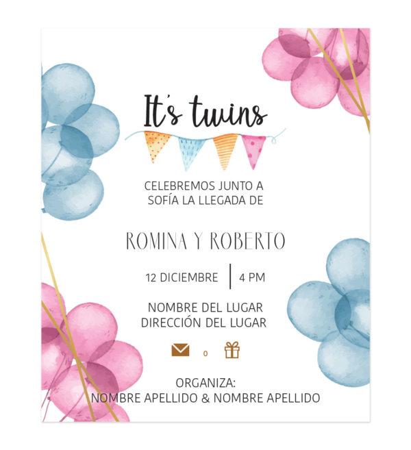 Invitación Baby Shower Cuates Globos Combinados