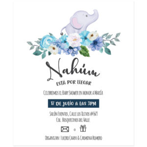 Invitación Baby Shower Elefante