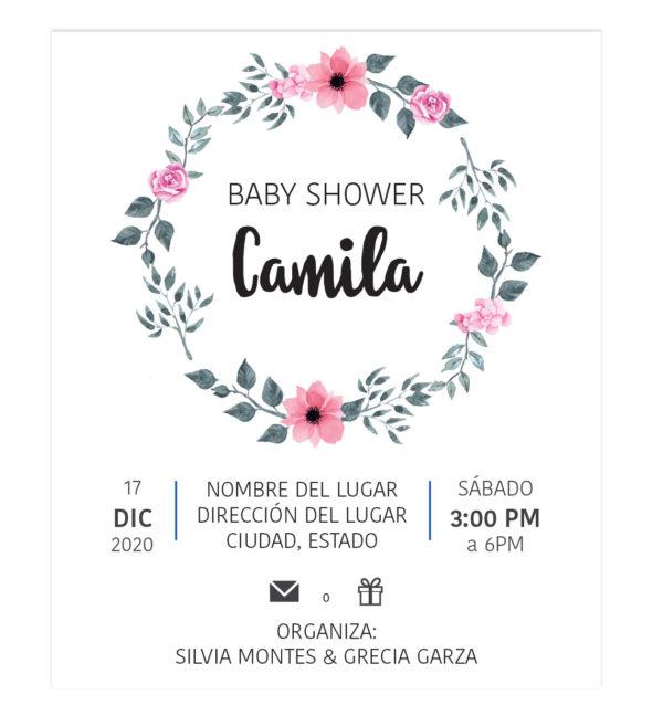 Invitación Baby Shower Corona Flores Rosa