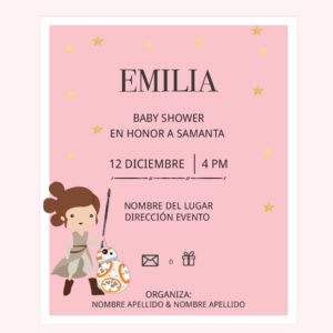 Invitación Baby Shower Rey Star Wars