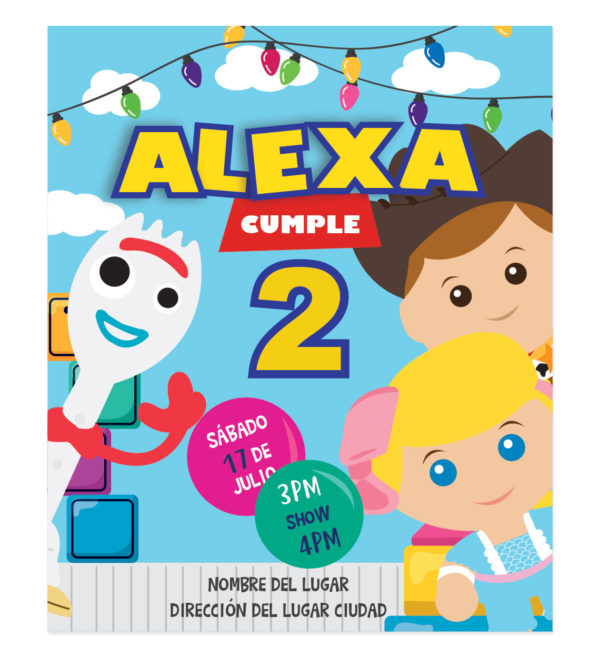 Invitación Cumpleaños Amigos Toy Story Hollywood
