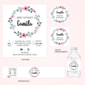 Kit Baby Shower Corona Flores Rosas