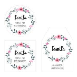 Tarjeta Agradecimiento Corona Flores Rosa