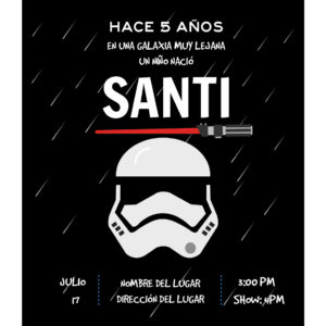 Invitación Cumpleaños Stormtrooper