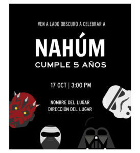 Invitación Cumpleaños Star Wars El Lado Oscuro