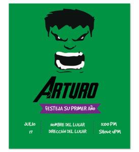 Invitación Cumpleaños Hulk