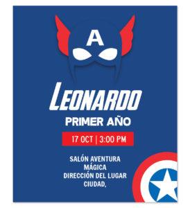 Invitación Cumpleaños Capitán América