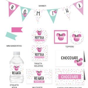 Kit Infantil Cumpleaños Minnie Pink