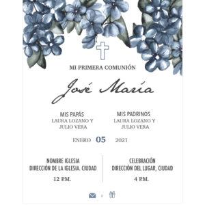 Invitación Primera Comunión Flores Cascada Azul