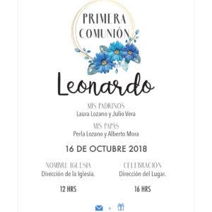 Invitación Primera Comunión Flores Aro Azul
