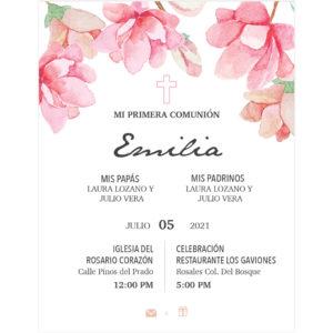 Invitación Primera Comunión Flores Rosa