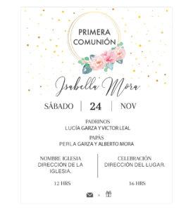 Invitación Primera Comunión Flores Aro Rosa