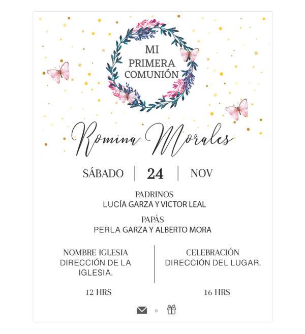 Invitación Primera Comunión Flores Aro Mariposas
