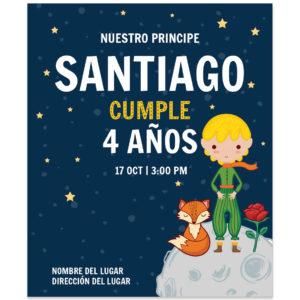 Invitación Cumpleaños Principito Luna
