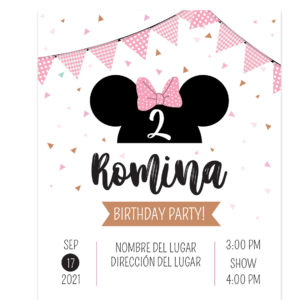 Invitación Minnie Bow Rosa