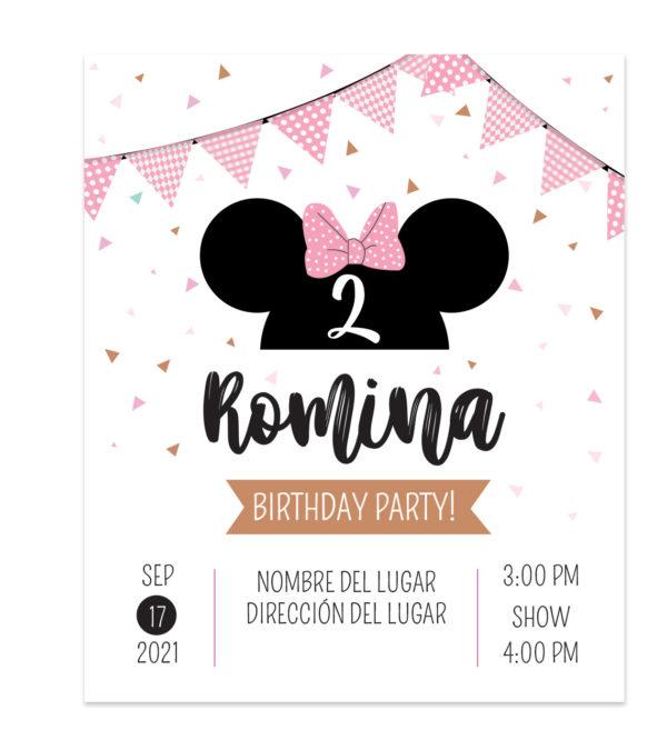 Invitación Minnie Bow Rosa
