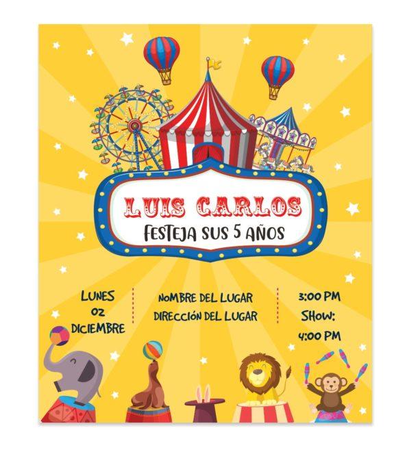 Invitación Cumpleaños Circo Amarillo