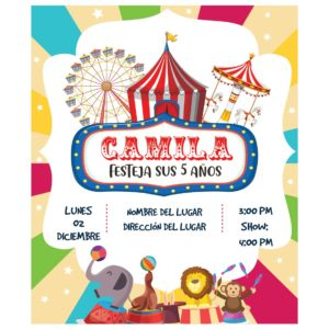 Invitación Cumpleaños Circo Colores