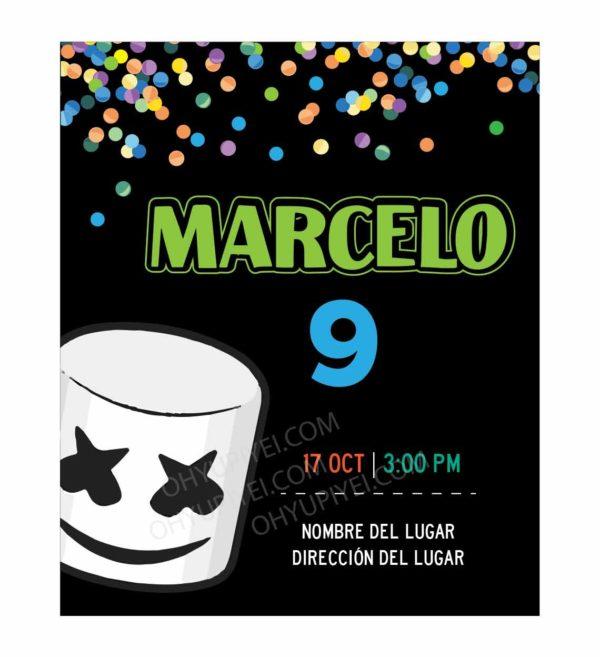 Invitación Cumpleaños Marshmello Confetti