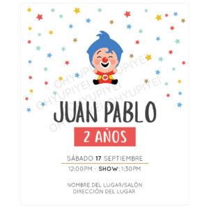 Invitación Cumpleaños Plim Plim Stars