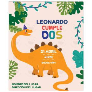 Invitación Cumpleaños Dino Estegosaurios