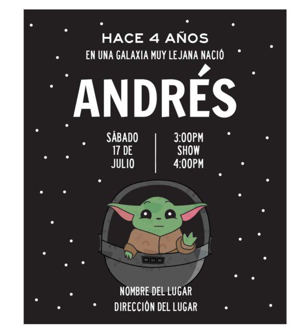 Invitación Cumpleaños Baby Yoda
