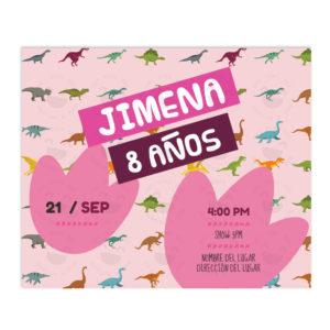 Invitación Cumpleaños Colección Dinosaurios Rosa