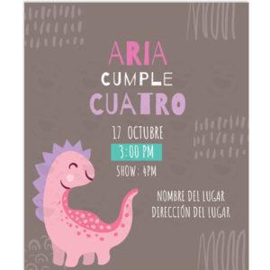 Invitación Cumpleaños Dino Amiga