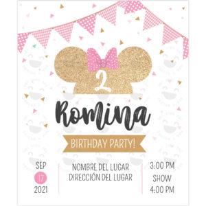 Invitación Minnie Glitter Bow Rosa