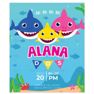Invitación Baby Shark Banderines