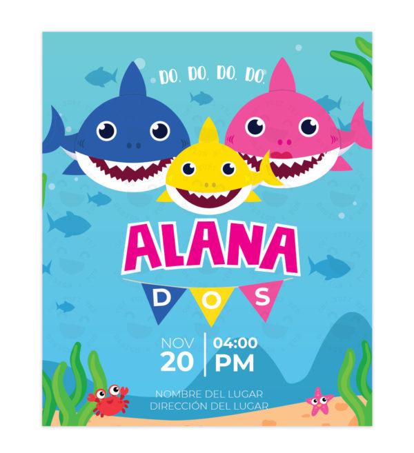 Invitación Baby Shark Banderines