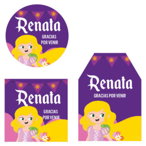 Etiqueta Agradecimiento Princesa Rapunzel